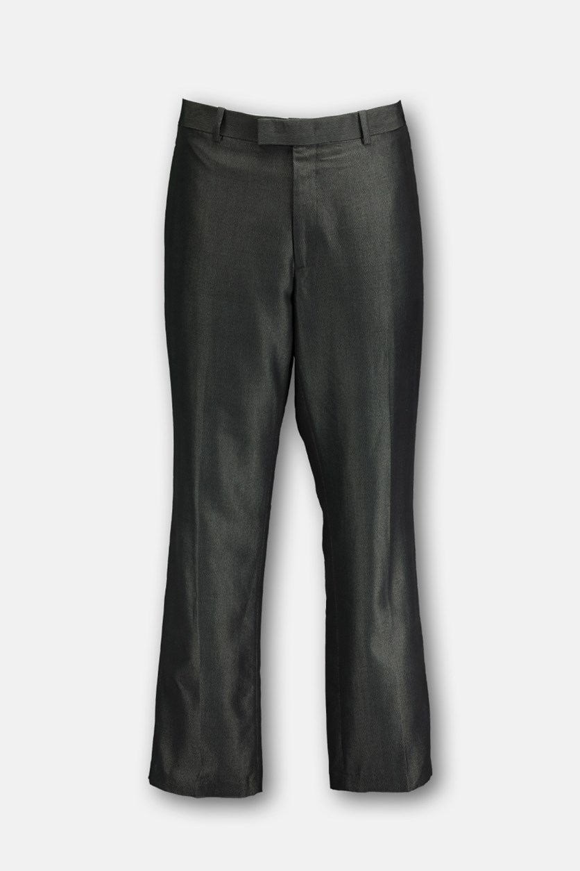 Men's Textured Dress Pants, Deep Black