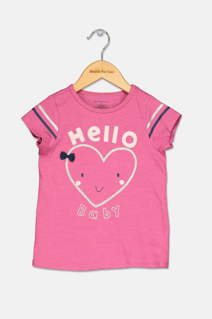 Toddler's Girls Hello Baby-Print Top, Berry Rose Heather