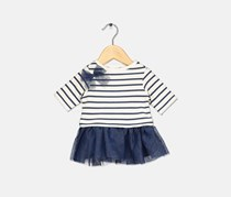 Baby Girls Stripe Dress, Navy/White