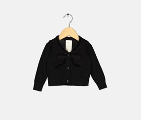 Baby Girls Bow Front Cotton Cardigan, Black