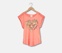 Belle Du Jour Kids Girl's Graphic Tee, Neon Coral
