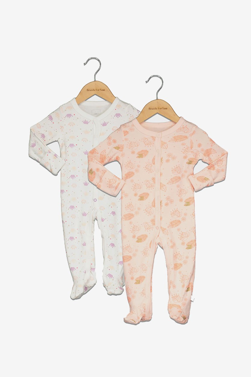 Assorted Coveralls Pack of 2, Peach/White