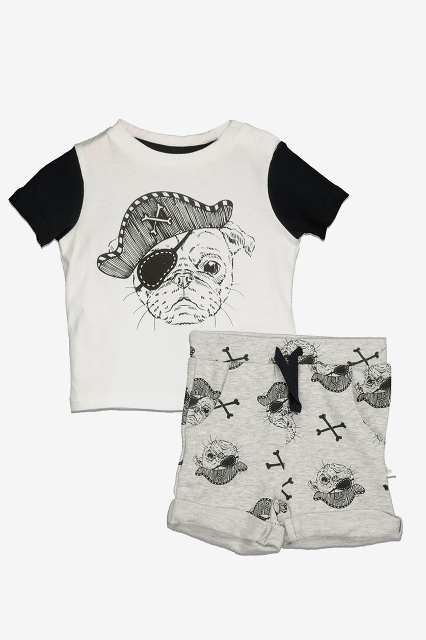 Toddler Boy's Graphic Tee & Short, Black/Grey/White