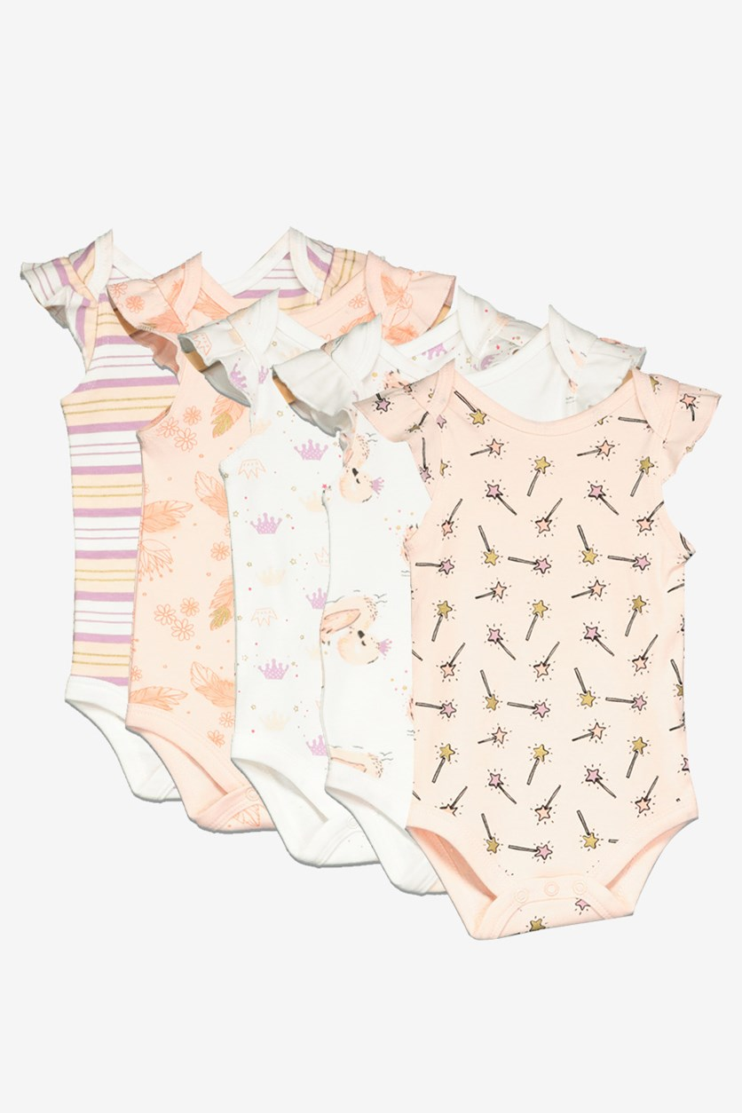 Toddlers Girl's Pack of 5 Printed Bodysuits, White/Pink