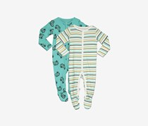Rosie Pope Baby Boys' Coveralls 2 Pack Trucks Stripes Set, Teal/Green Combo