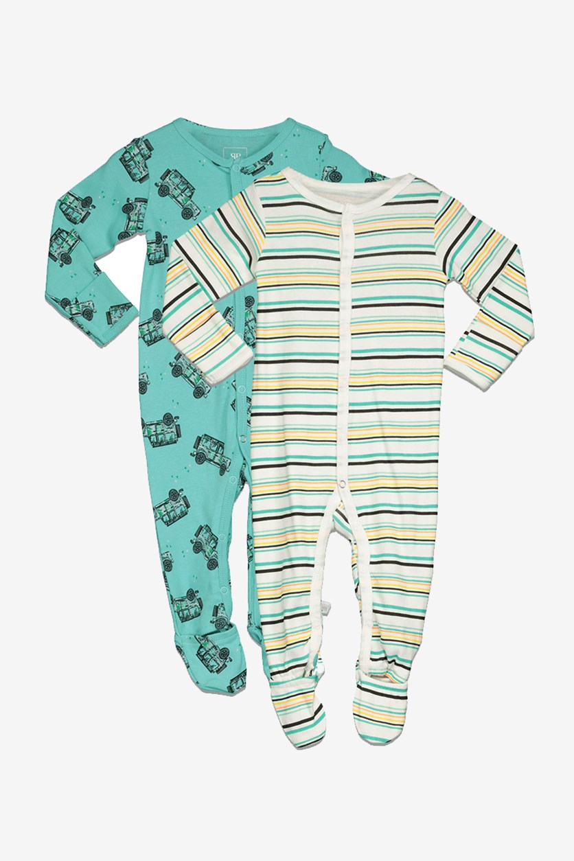 Baby Boys' Coveralls 2 Pack Trucks Stripes Set, Teal/Green Combo