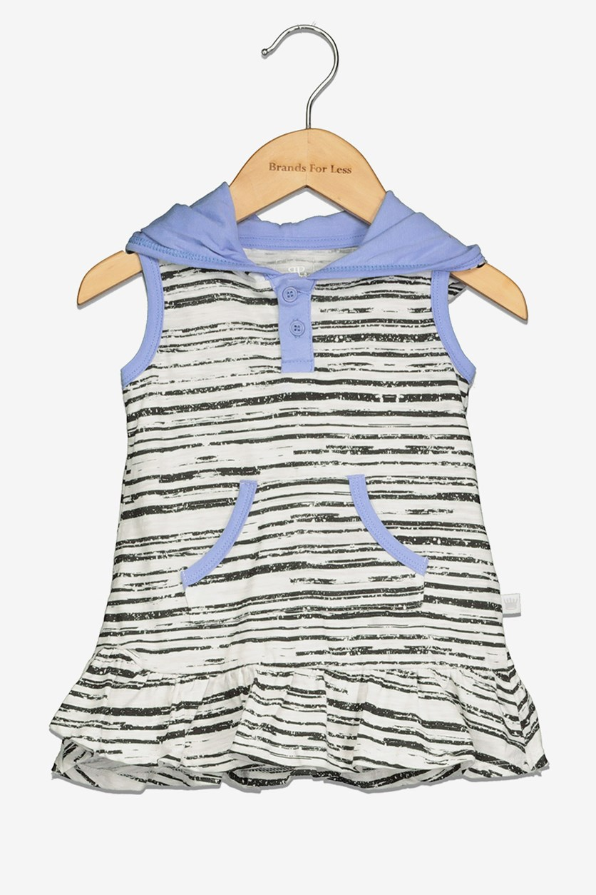 Toddler Girl's Stripe Dress, Purple/White