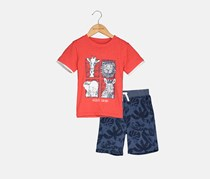 Kids Headquarters Toddler Boys 2-Pc. Graphic-Print T-Shirt & Shorts Set, Coral