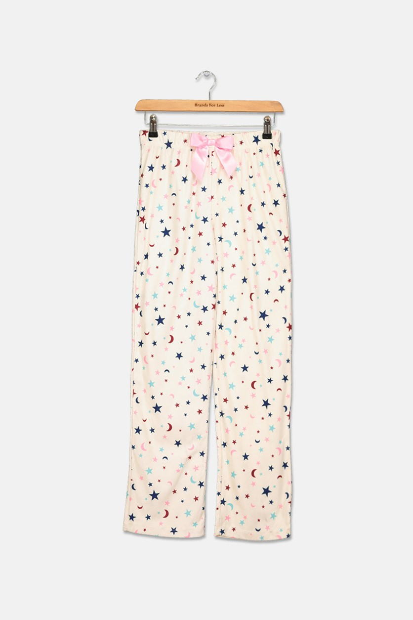 Girls Printed Pajama Pants, Cream