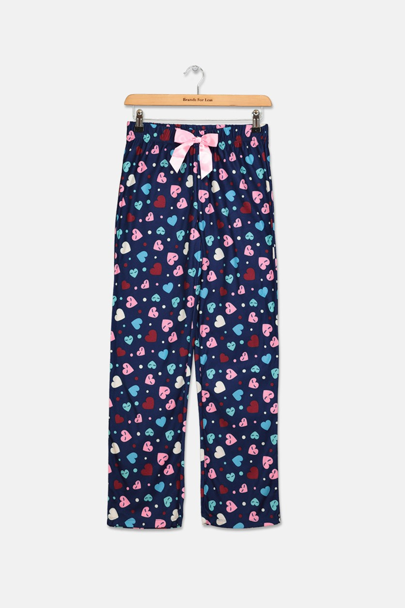 Girls Printed Pajama Pants, Navy