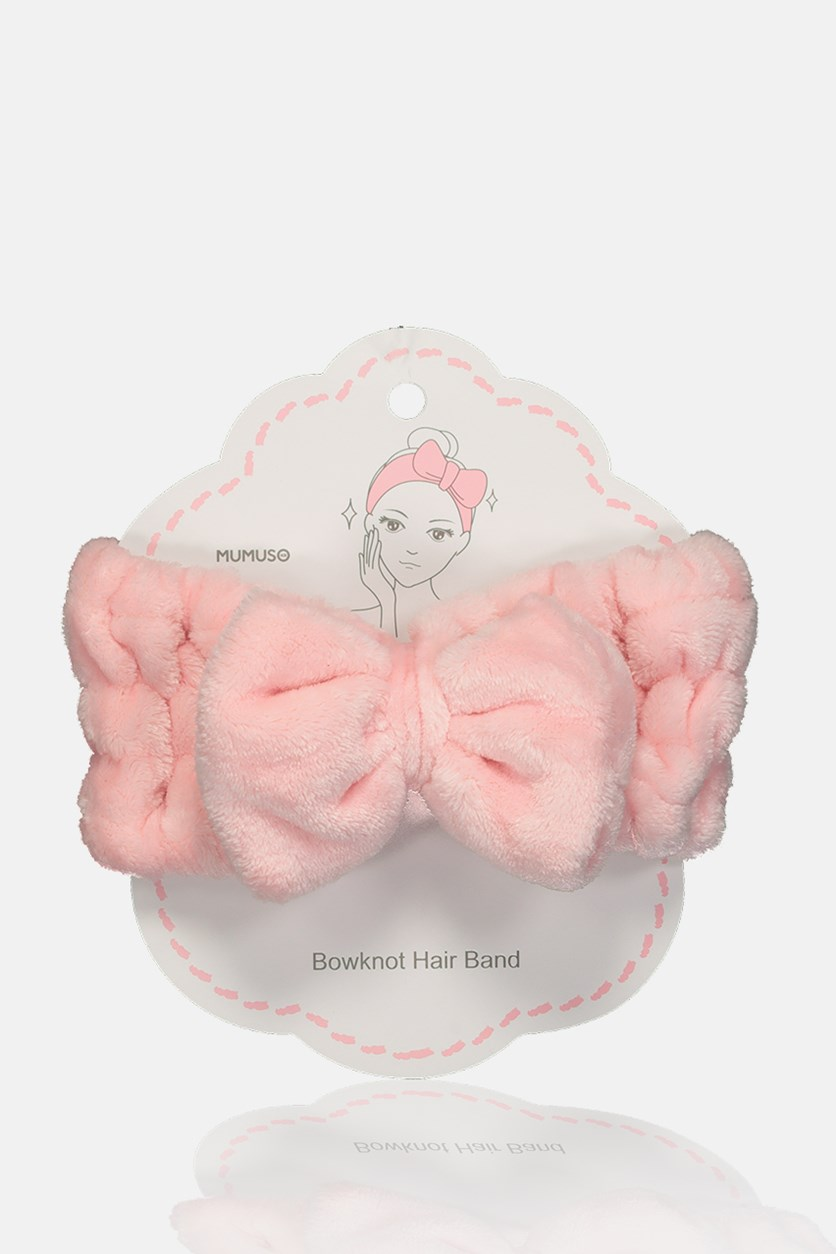 Lady's Purecolor Bowknot Hair Band, Pink
