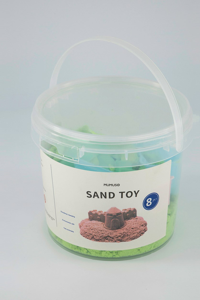 Large Bucket Sand Toy With Molds, Green Combo