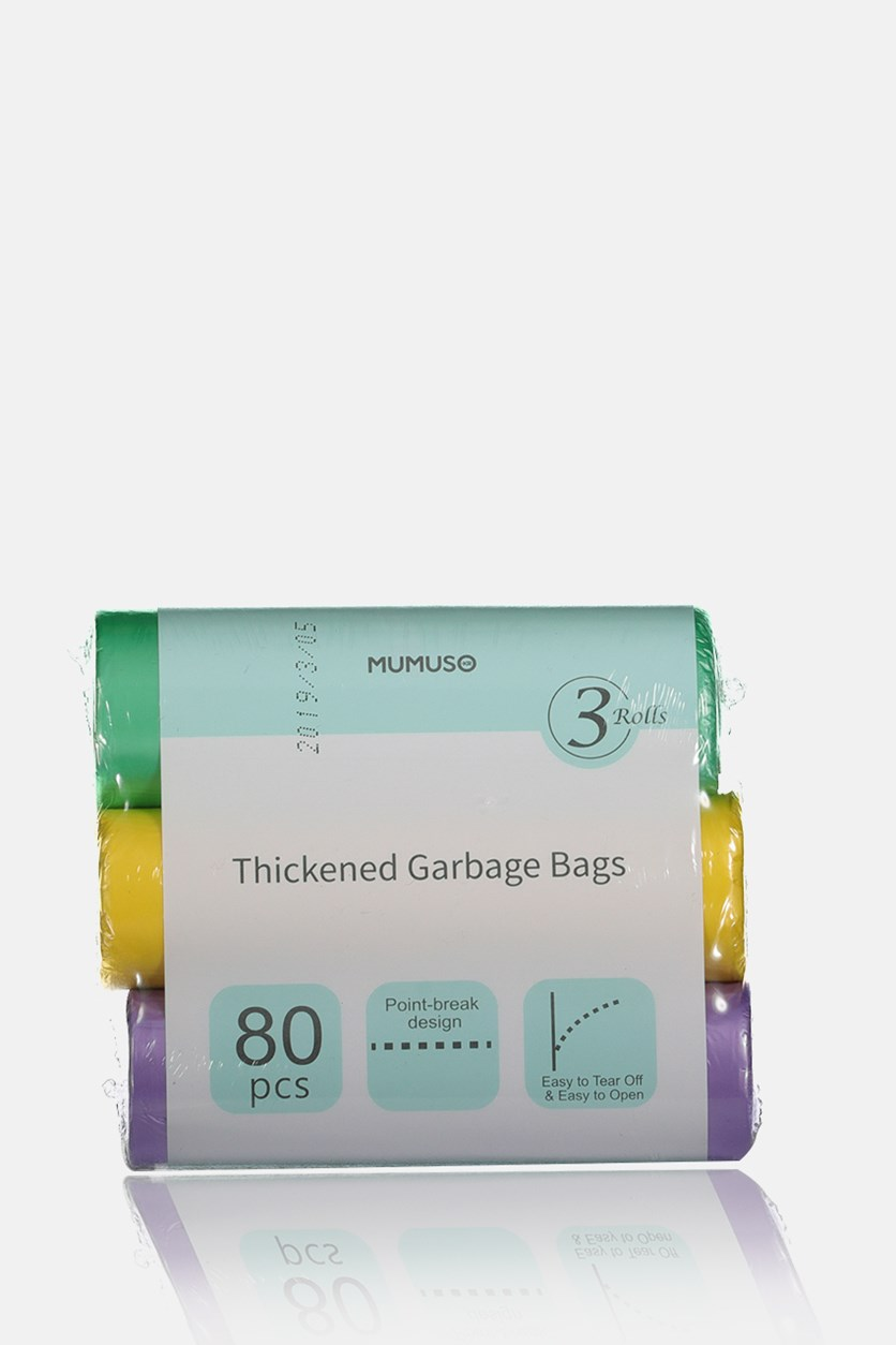 Thickened Garbage Bags 3-Pack, Purple/Yellow/Green