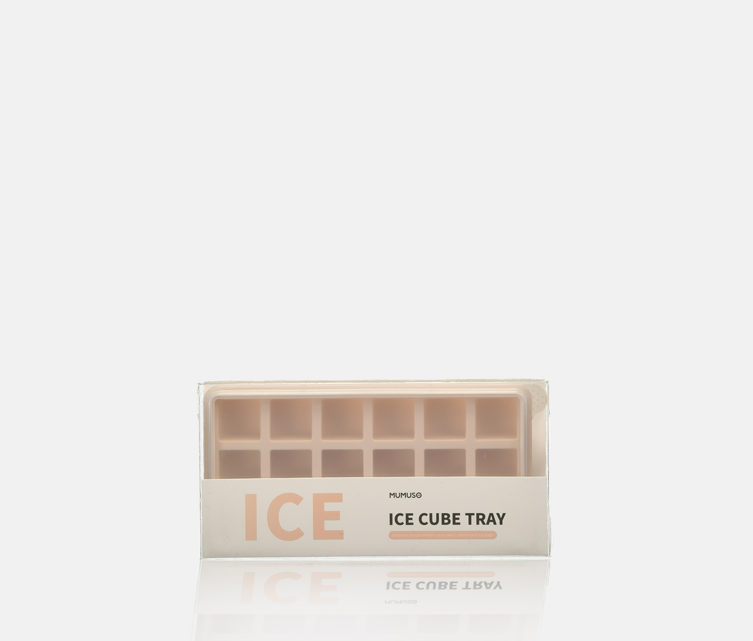 Ice Cube Tray With Lid-Rectangular Shape, Blush