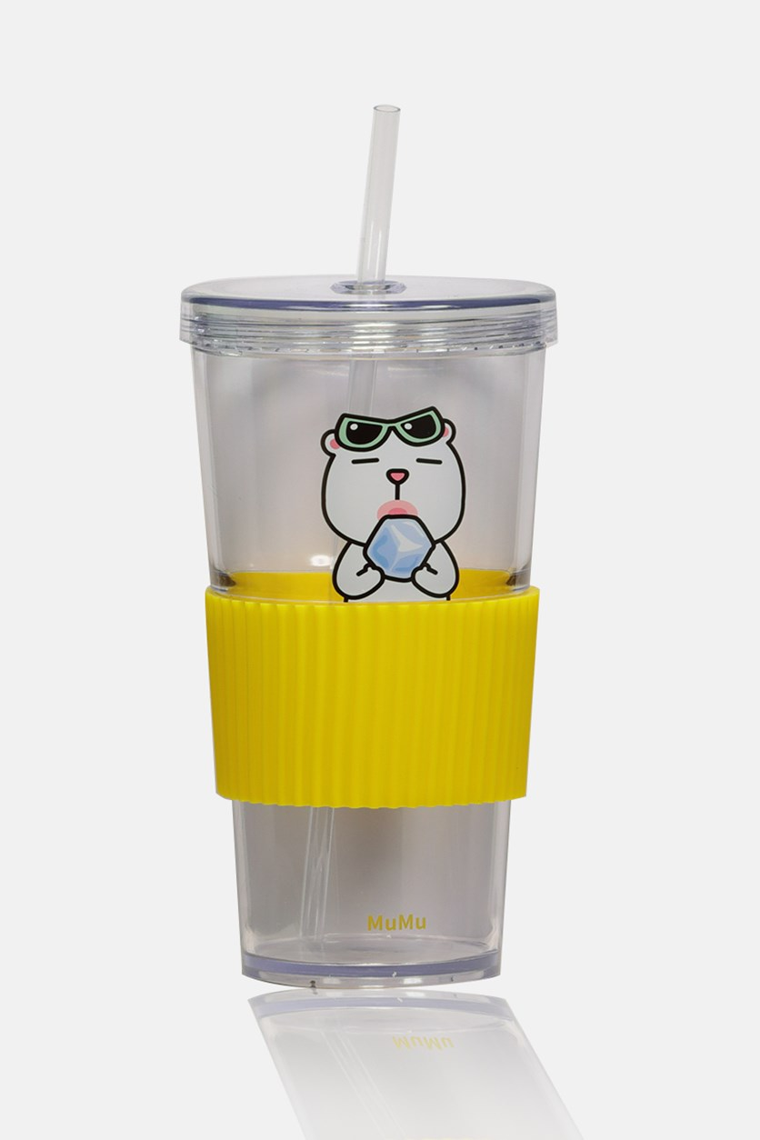 Family Tumbler With Lid 700mL, Yellow/Clear