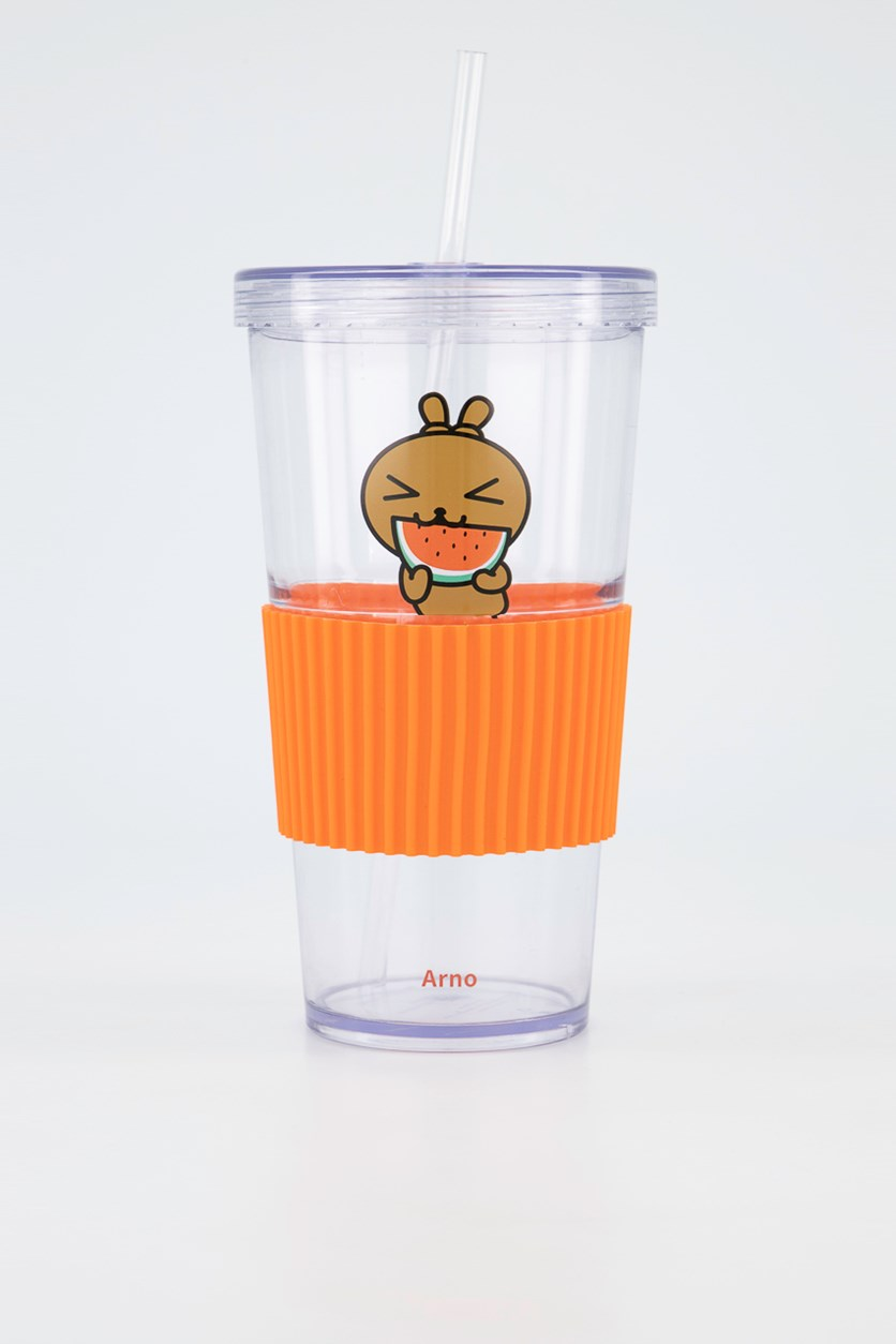 Family Tumbler With Lid 700mL, Orange/Transparent
