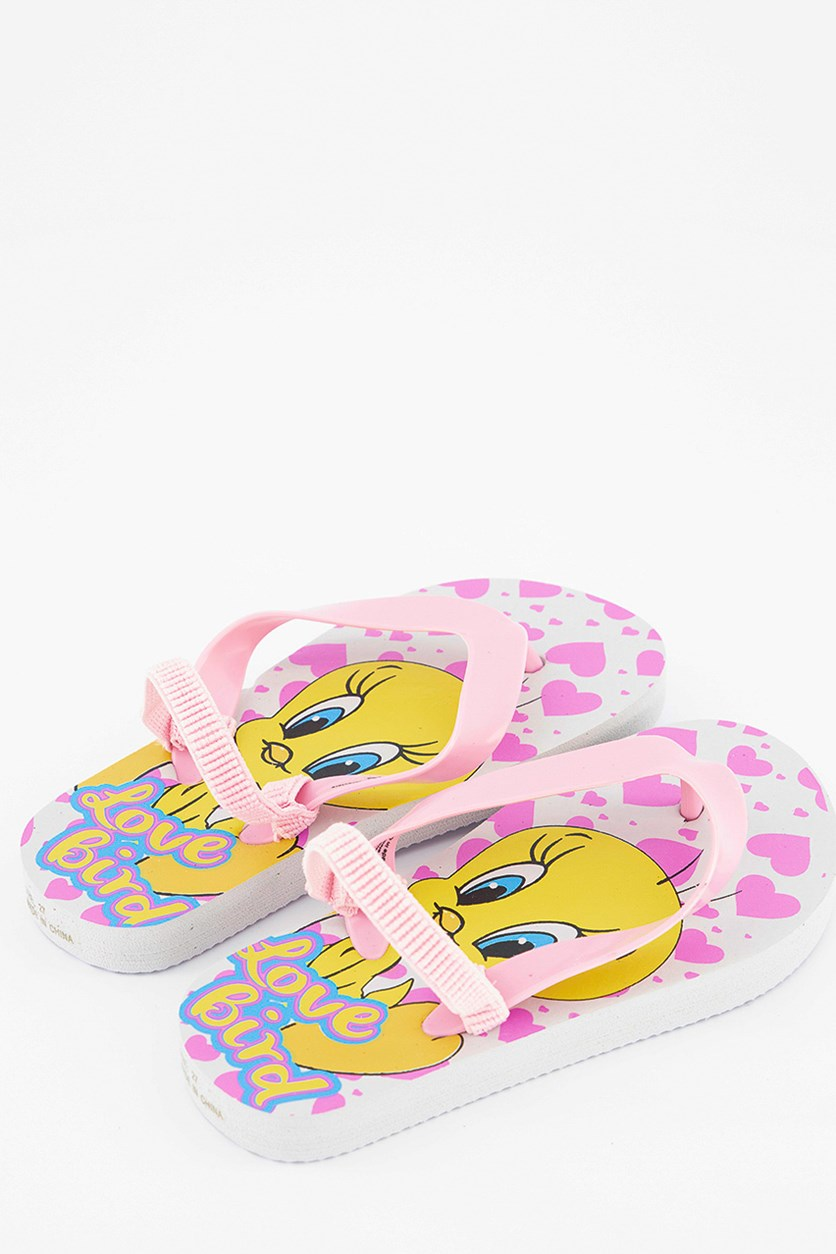 Kids Girls Looney Tunes Slippers, Pink