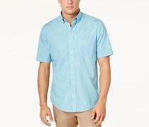 Club Room Men's Garment-Dyed Button up Shirt, Tide Blue