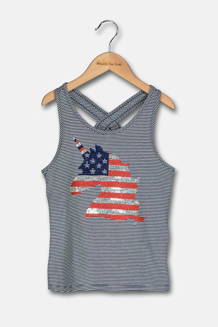 Striped Embellished Tank Top, Med Blue