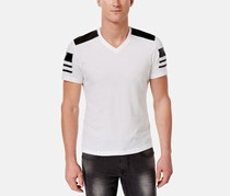 INC International Concepts Mens Faux-Leather Pieced T-Shirt, White Pure