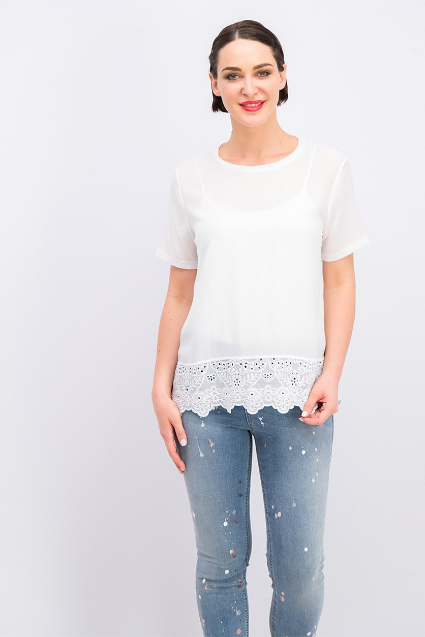 Women Embroidery Blouse, White