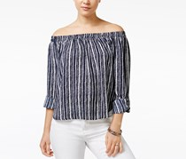 American Rag Women's  Off-Shoulder Top, Indigo/White