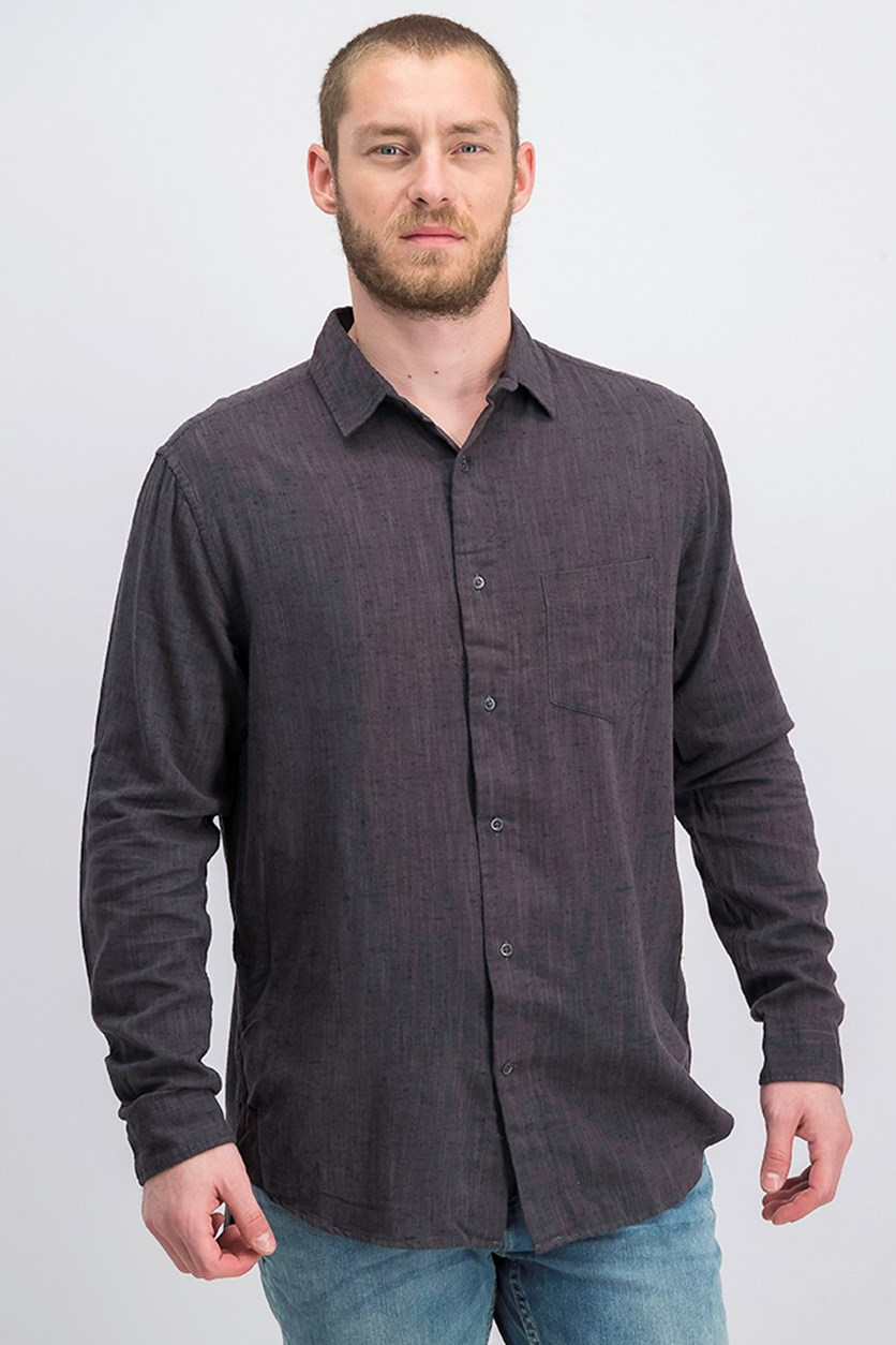 Men's Slubber Casual Shirt, Dark Grey