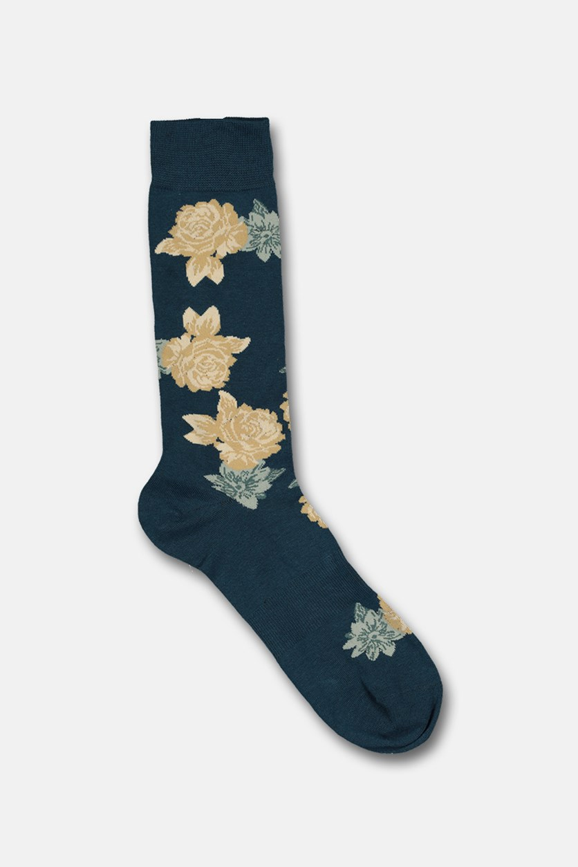 Men's Vintage Block Floral Socks, Teal