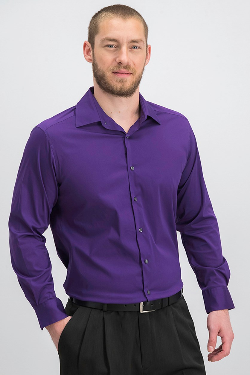 Slim-Fit Stretch Performance Dress Shirt, Purple