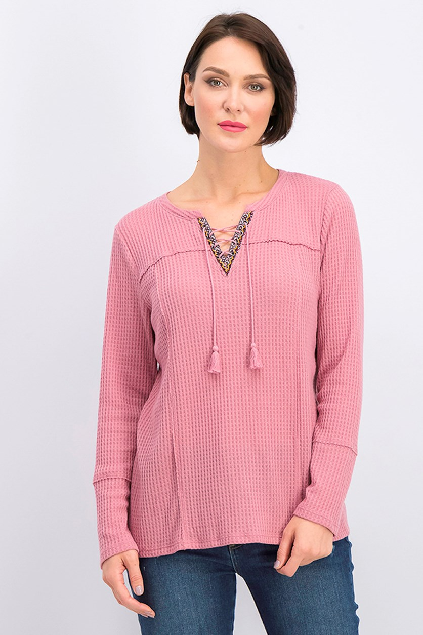 Women's Lace-up Thermal Top, Mesa Rose