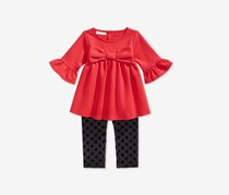 First Impressions Baby Girl's 2-Pc. Bow Tunic & Dot-Print Leggings Set, Red/Black
