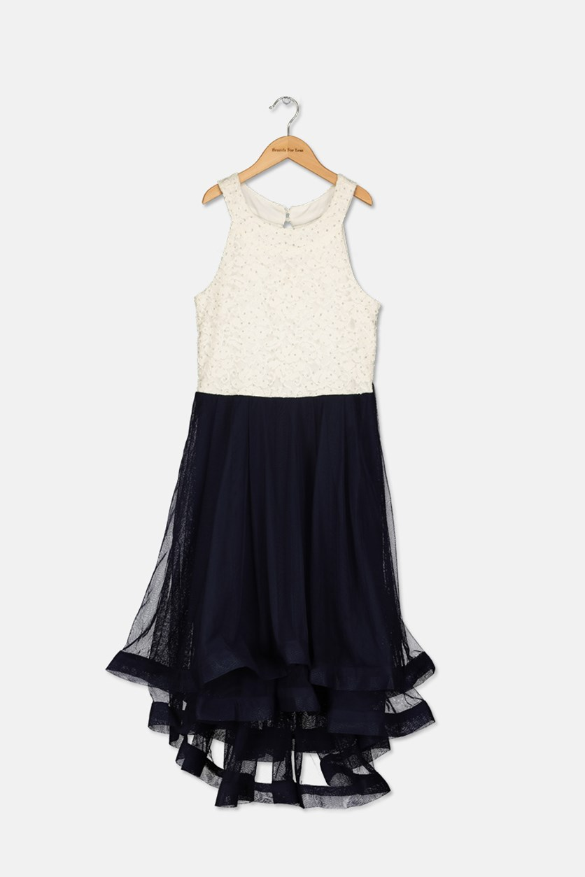 Glitter Lace-Bodice Dress, Ivory/Navy