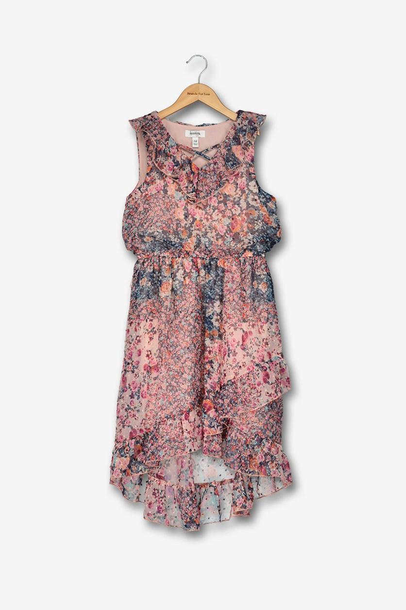Big Girls Floral-Print Dress, Navy/Pink Combo