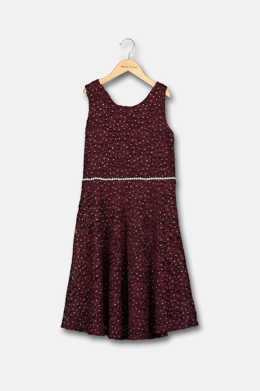 Big Girls Glitter Lace Dress, Burgundy