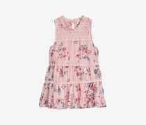 Beautees Floral Victorian Illusion High Neck Top, Blush