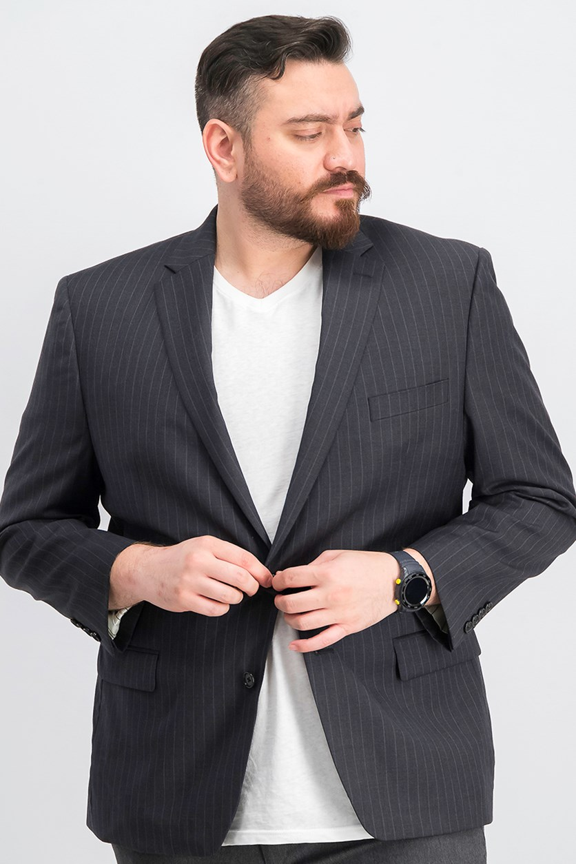 Men's Long Sleeve Classic Fit Two-Button Blazer. Charcoal
