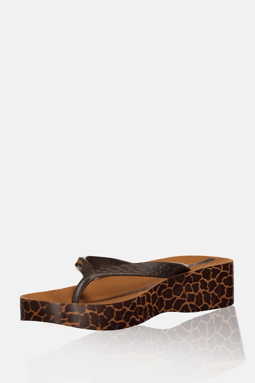 Platform Safari Styles Wedge Sandals, Brown