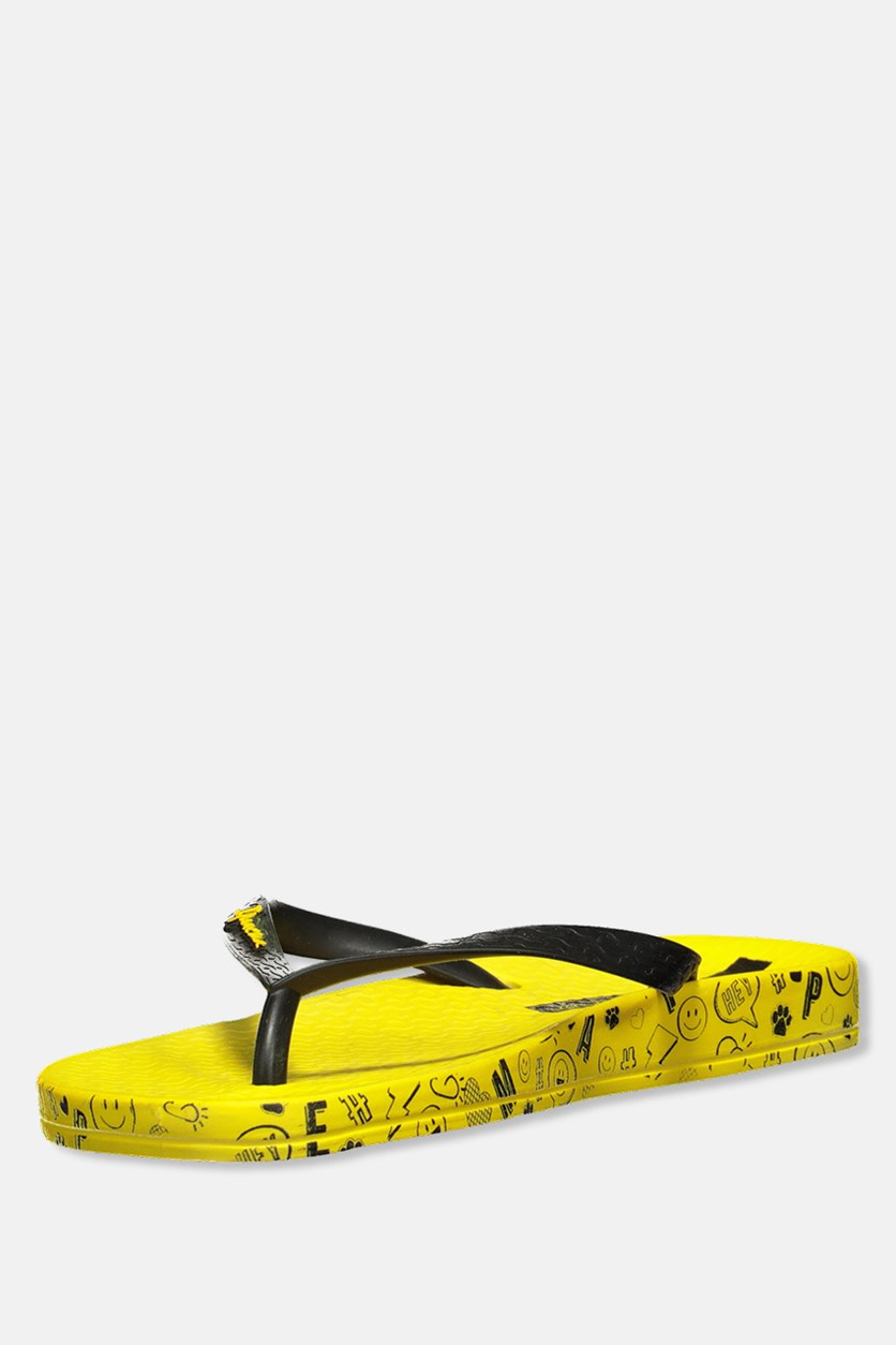 Anatomica Soft Printed Slippers, Yellow
