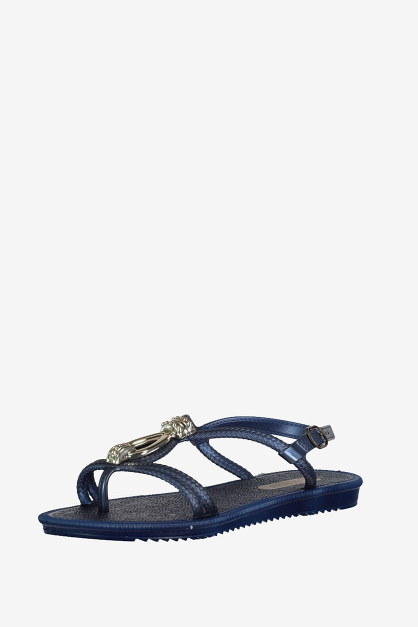 Women's Textured Sandals, Blue/Gold