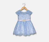 Rare Editions Toddler Girls Lace Fit & Flare Party Dress, Blue