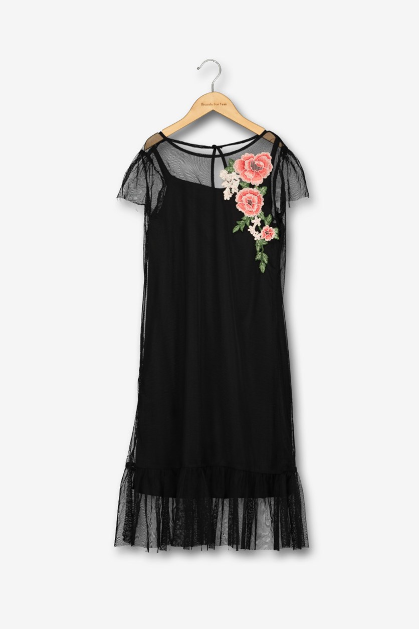 Embroidered Mesh Dress, Black