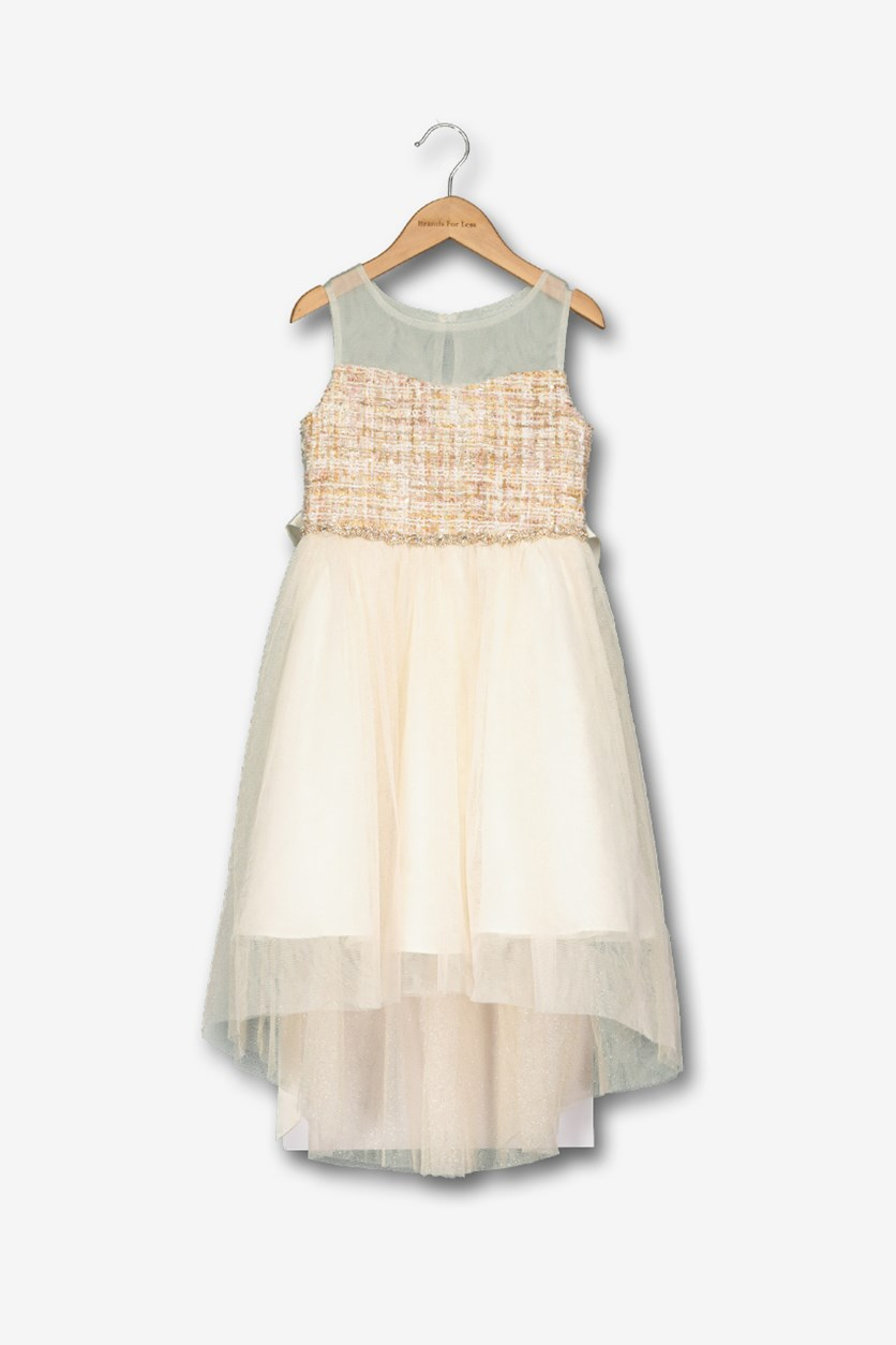 Little Girls Boucle Illusion Neck Dress, Blush