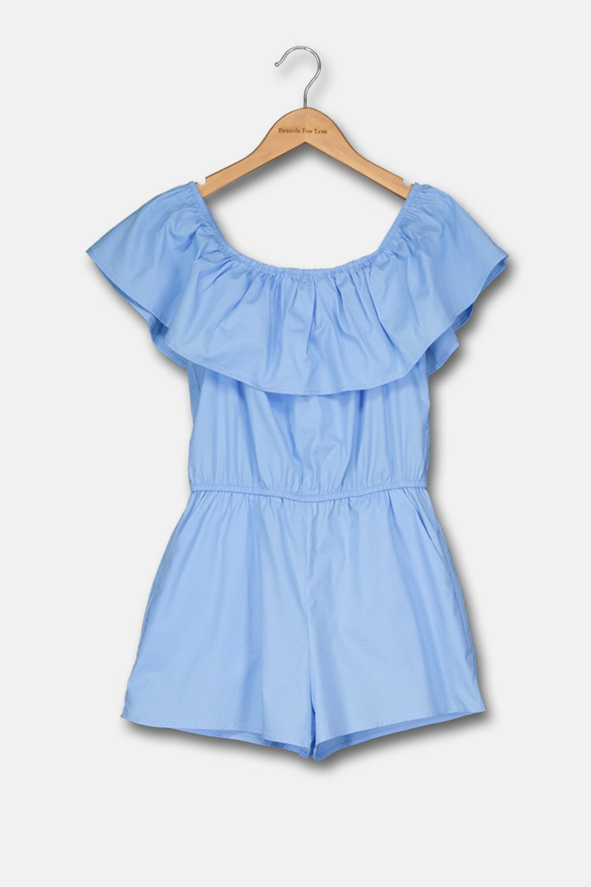 Girls' Ruffled Off-the-Shoulder Romper, Light Blue