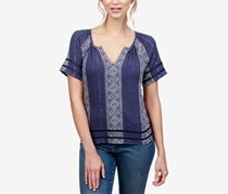 Lucky Brand Striped Peasant Top, Navy