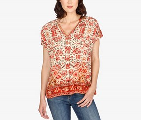 Lucky Brand Women's Floral-Print Blouse, Red