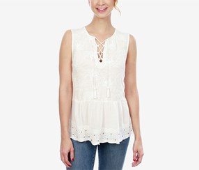 Lucky Brand Women's Cotton Lace-Up Peplum Top, White