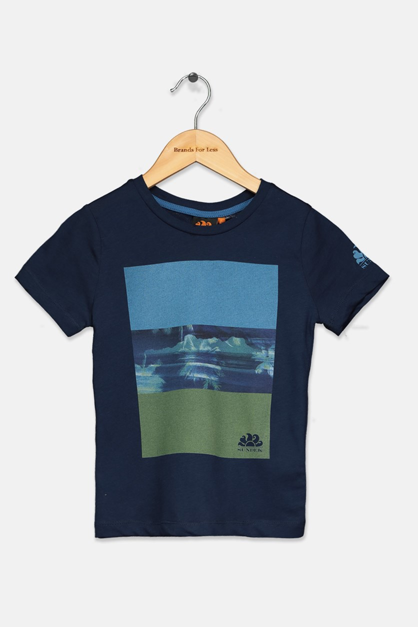 Little Boy's Graphic Print T-Shirt, Navy