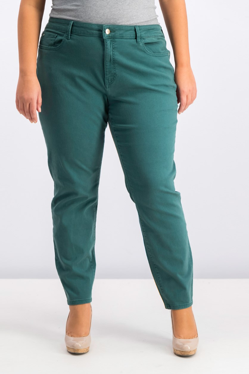 Women's Plus Size Five Pocket Jeans, Mallard Green