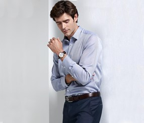 Men's Full-Twist Shirt With Kent Collar Dress Shirt, Blue