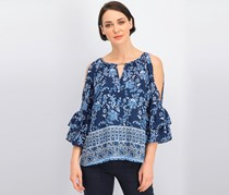 Bcx Juniors' Printed Ruffle-Sleeved Cold-Shoulder Blouse, Navy Blue